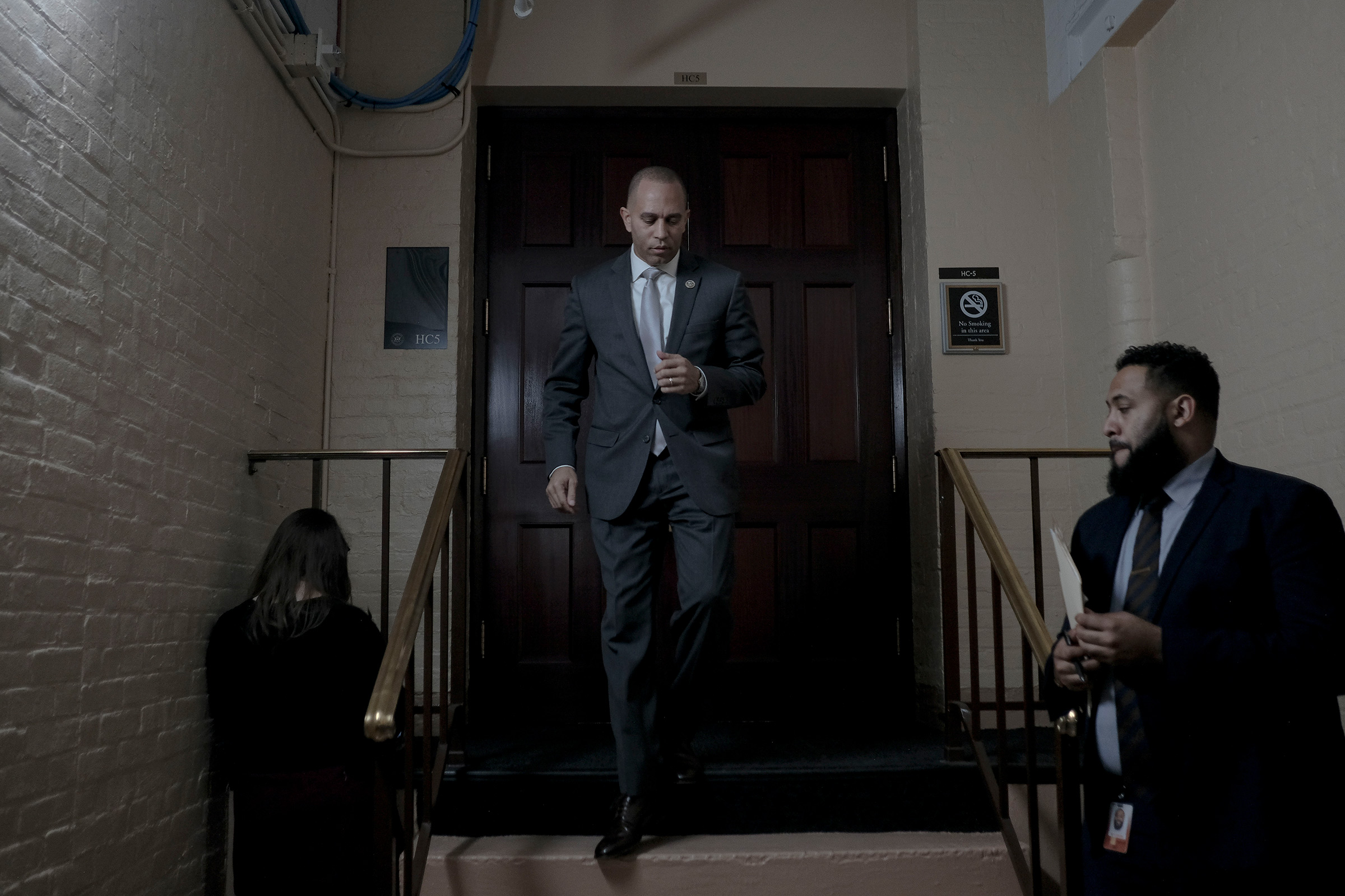 Democratic Caucus Chairman Hakeem Jeffries (D-N.Y.) leaves a meeting with the House Democratic Caucus in the basement of the Capitol in Washington, D.C., on Dec. 17, 2019.