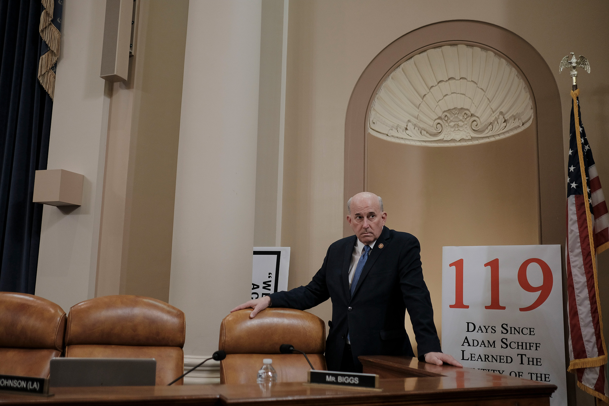D.C. Rep. Louie Gohmert (R-Texas) settles in before the House Judiciary Committee hearing on the impeachment inquiry at the Longworth House Office building on Capitol Hill in Washington, D.C., on Dec. 9, 2019.