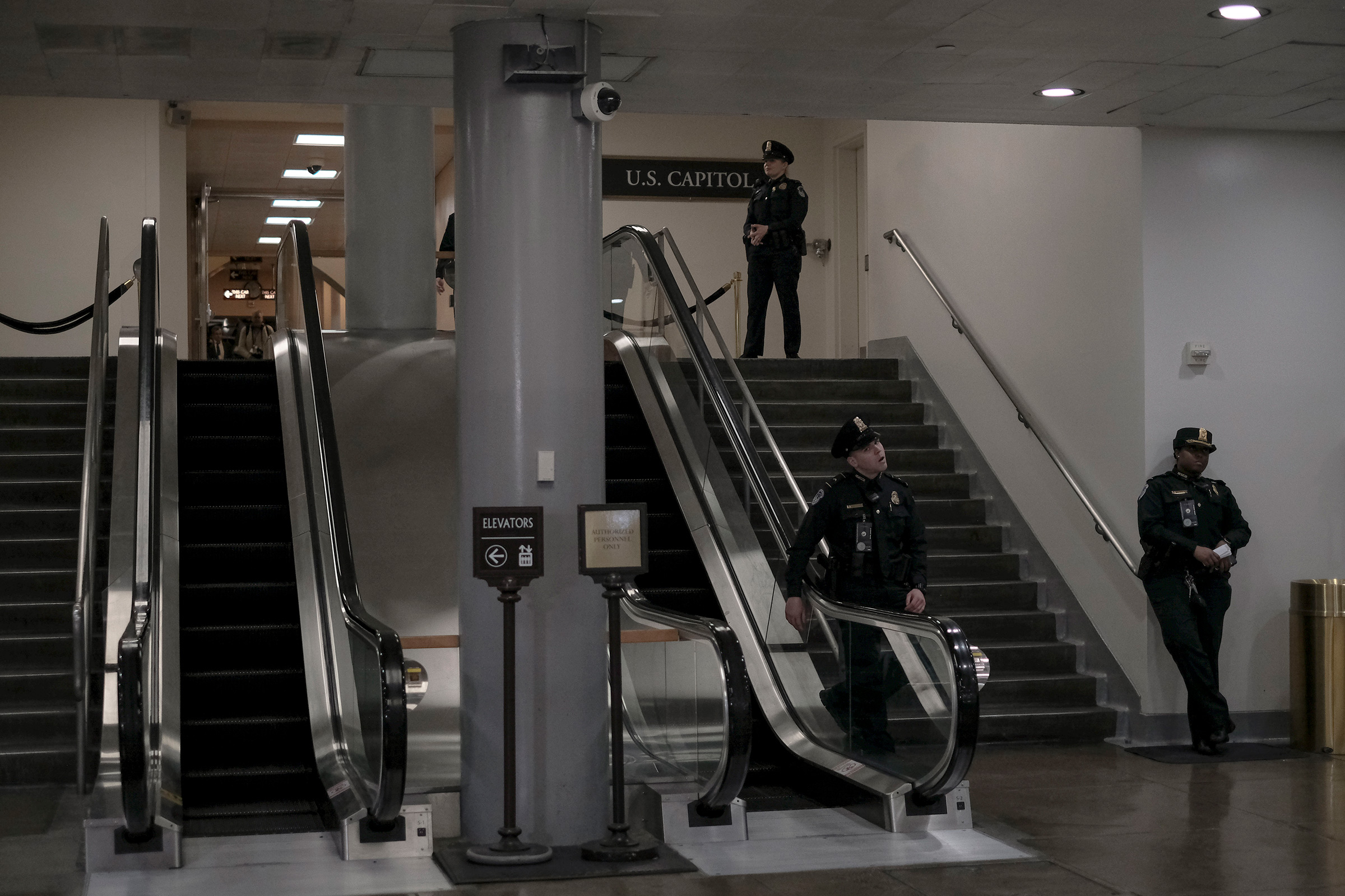 Capitol Hill police stand guard at the senate subway during the senate impeachment trial at the Capitol in Washington, D.C, on Jan. 29, 2020.