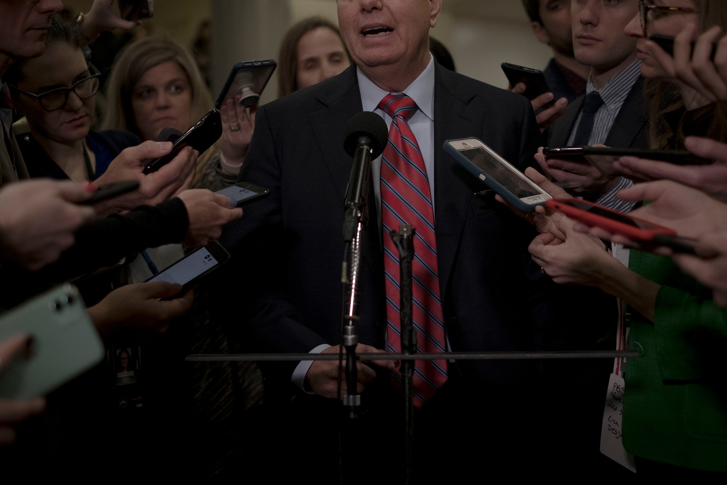 Sen. Lindsey Graham (R-S.C.) speaks to reporters before the senate impeachment trial at the Capitol in Washington, D.C., on Jan. 28, 2020.