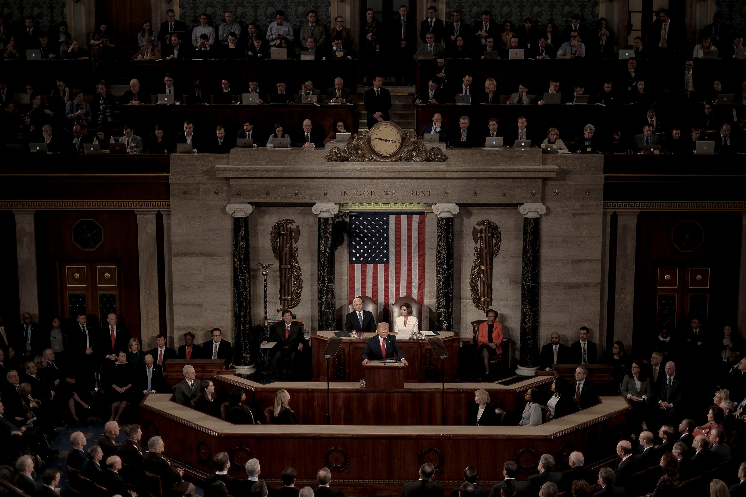 President Donald Trump delivers a State of the Union address to a joint session of Congress at the U.S. Capitol in Washington, D.C., Feb. 4, 2020. An aide said the theme of the speech would reflect Trump's  relentless optimism  for the country.