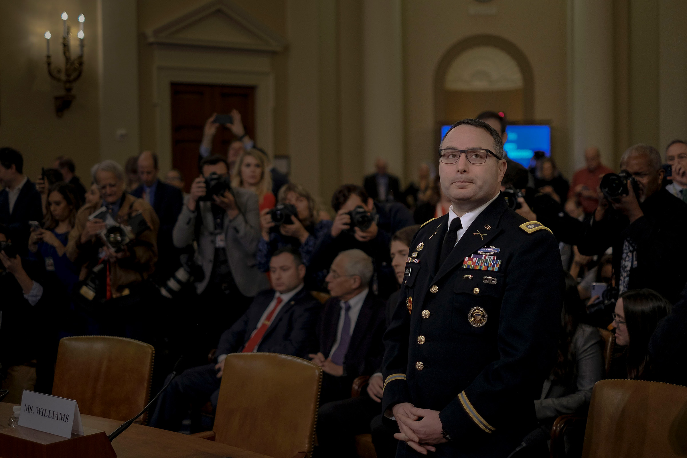 Witness Lt. Col. Alexander Vindeman, National Security Council staffer, enters the House Intelligence Committee hearing on the impeachment inquiry on Capitol Hill in Washington, D.C., Nov. 19, 2019.