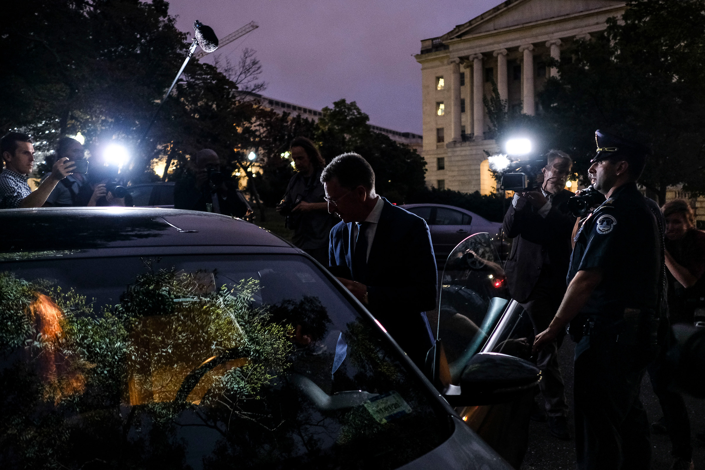Kurt Volker, former U.S. envoy to Ukraine, leaves the Capitol after delivering hours of testimony to the House intelligence committees in Washington, D.C., Oct. 3, 2019.