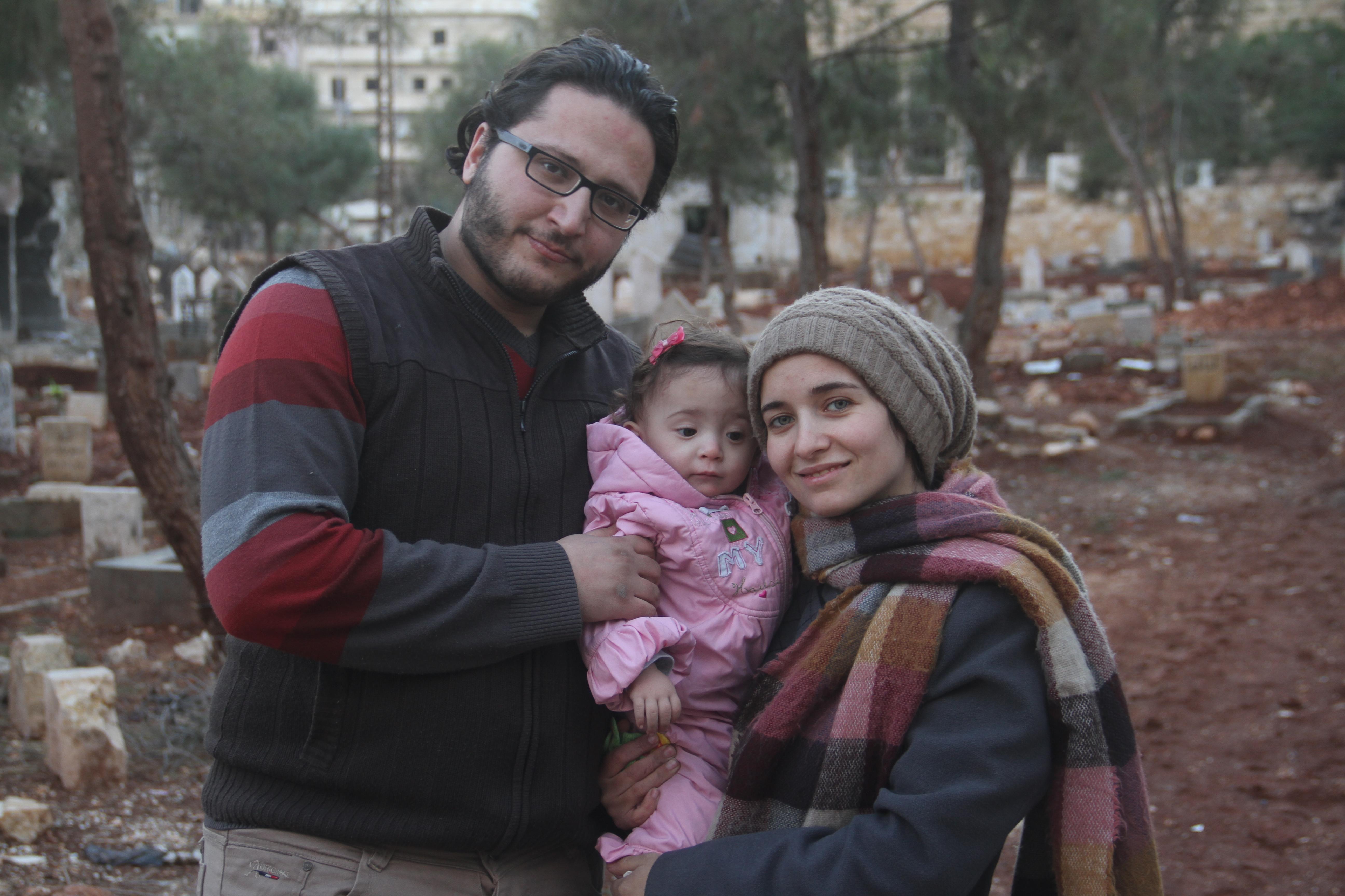 Waad and Hamza al-Kateab with Sama in Aleppo.
