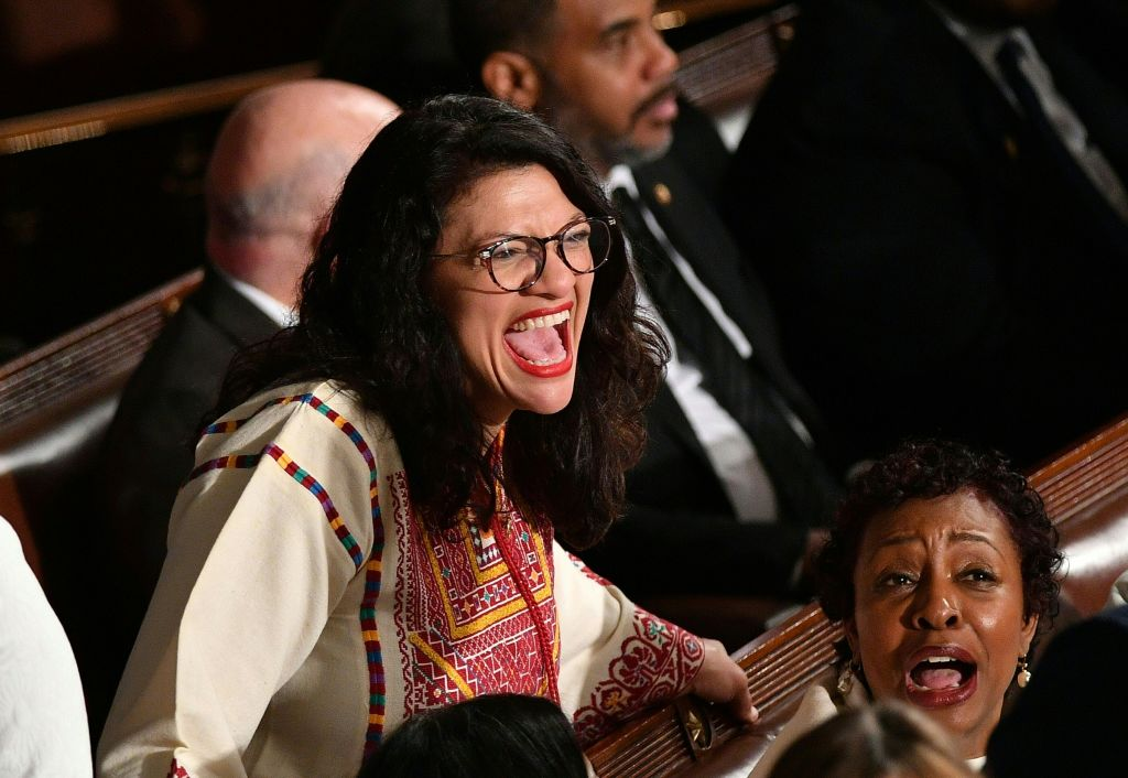 Representative from Michigan Rashida Tlaib is seen before the start of the State Of The Union address by US President Donald Trump at the US Capitol in Washington, DC, on February 4, 2020.