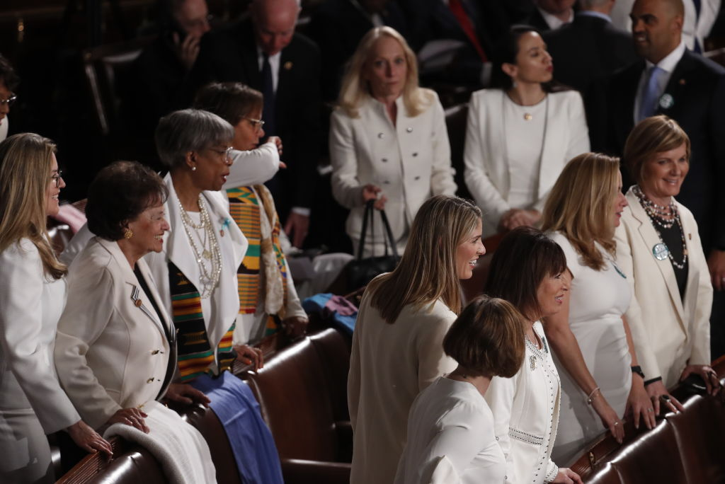 Democratic lawmakers dress in white as they arrive ahead of a State of the Union address to a joint session of Congress at the U.S. Capitol in Washington, D.C., U.S., on Tuesday, Feb. 4, 2020.