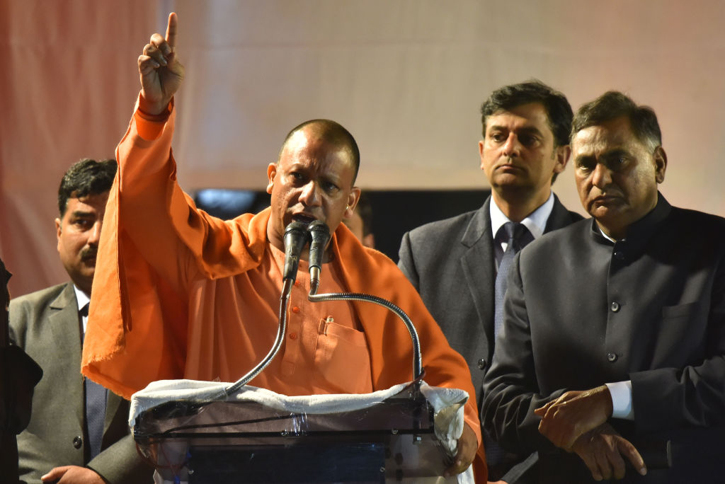 Uttar Pradesh Chief Minister Yogi Adityanath during a BJP rally ahead of Delhi elections, on February 2, 2020.