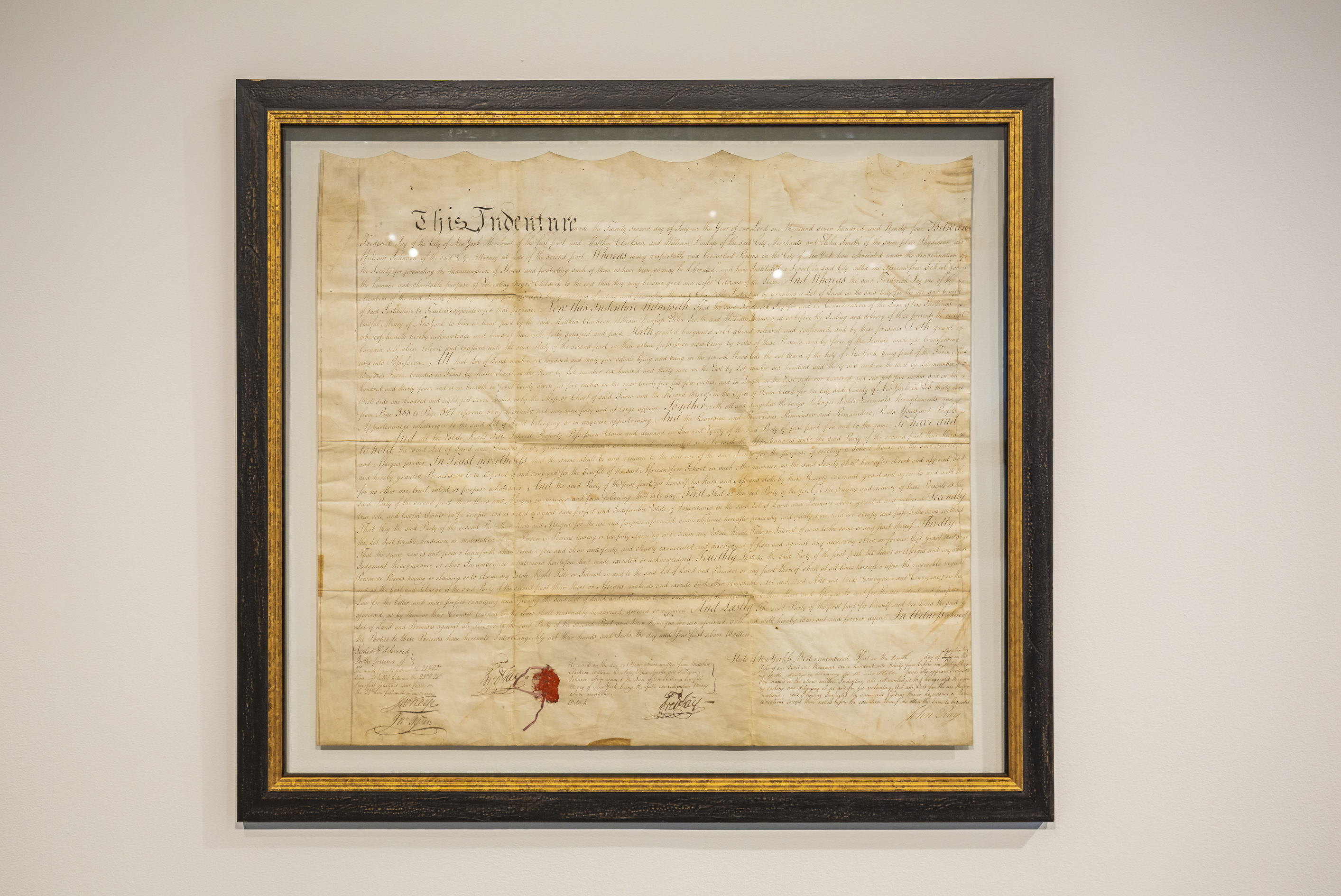 A 1794 land deed for the first African Free School location in lower Manhattan.