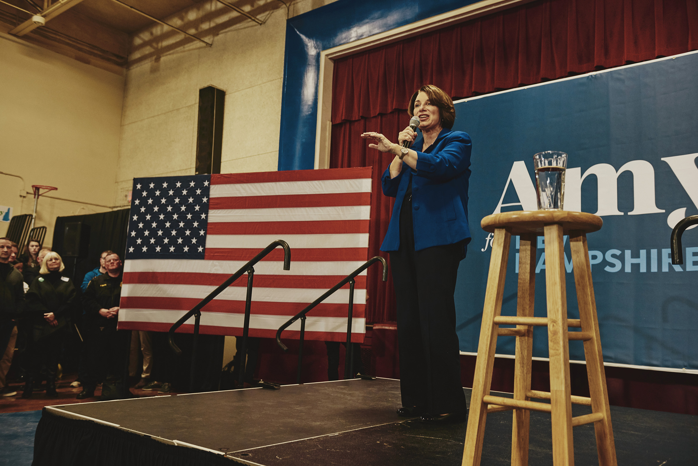 Sen. Amy Klobuchar speaks at her Salem GOTV event at the Woodbury School in Salem, N.H. on Feb. 9, 2020.