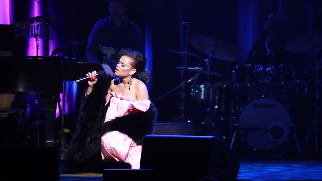 Andra Day performs onstage at the Lena Horne Prize Event Honoring Solange Knowles Presented by Salesforce at the Town Hall on February 28, 2020 in New York City.