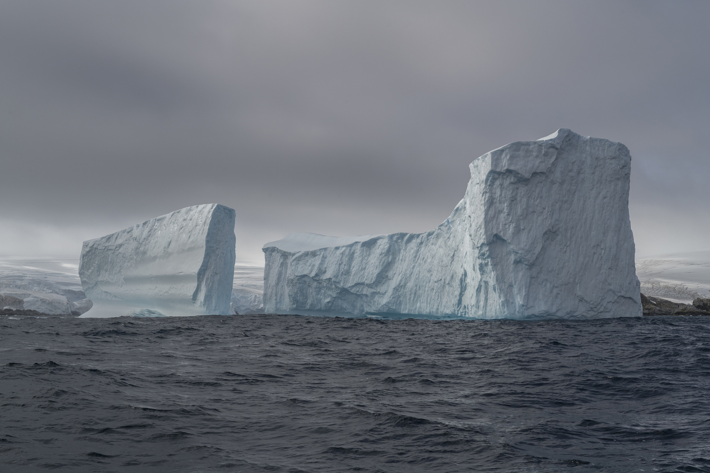 Icebergs outside the coast of Anvers Island in Antarctica.