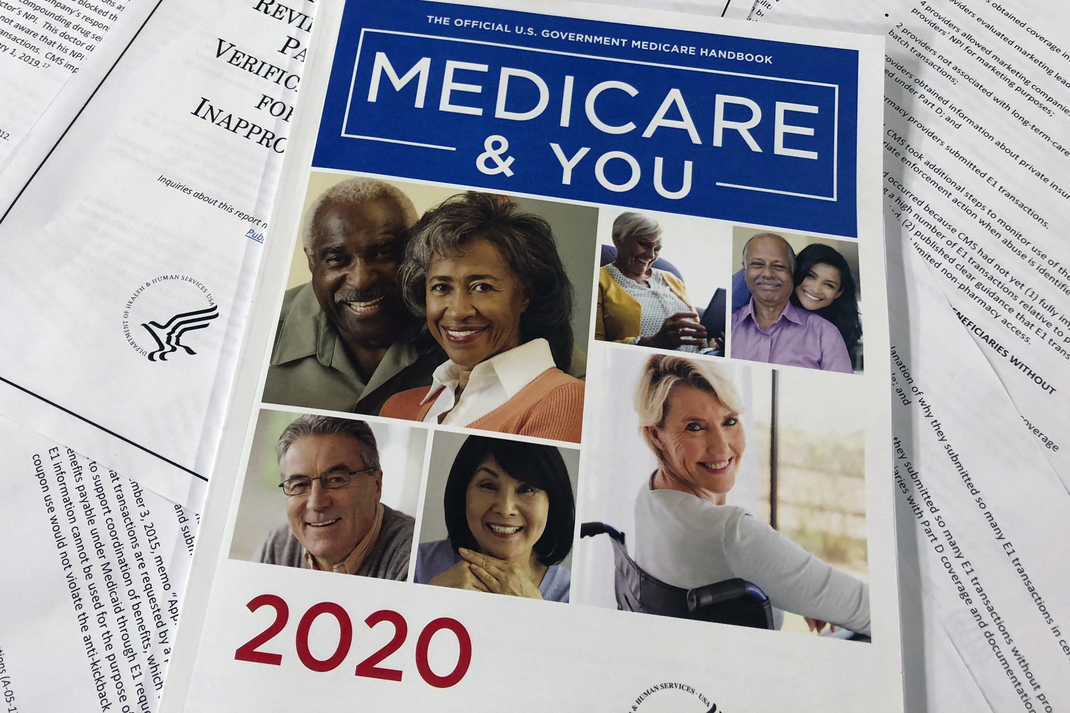 The Official U.S. Government Medicare Handbook for 2020 is seen in Washington on Feb. 13, 2020.
