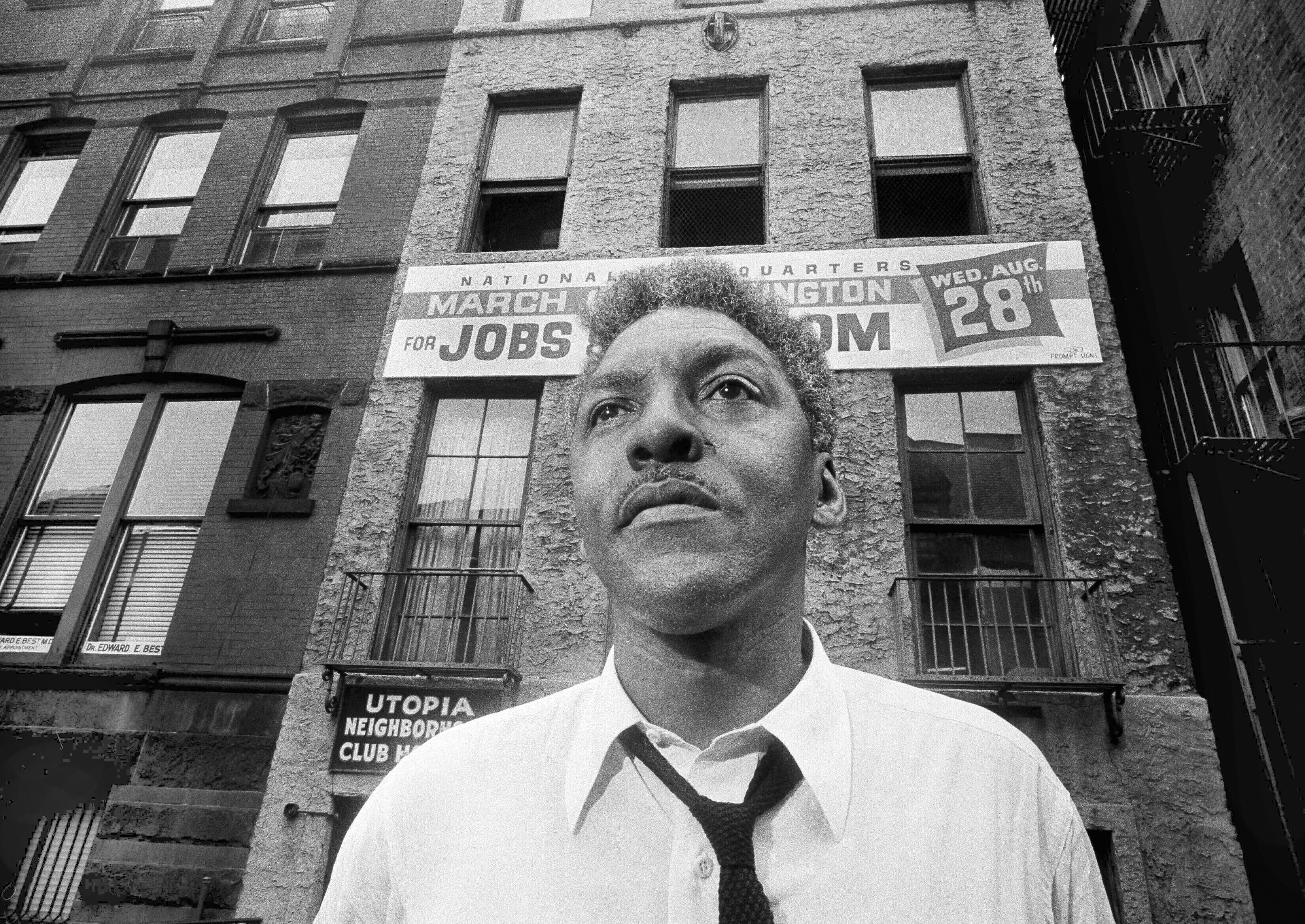 In this Aug. 1, 1963, file photo, Bayard Rustin, organizer of the March on Washington, poses in New York City.