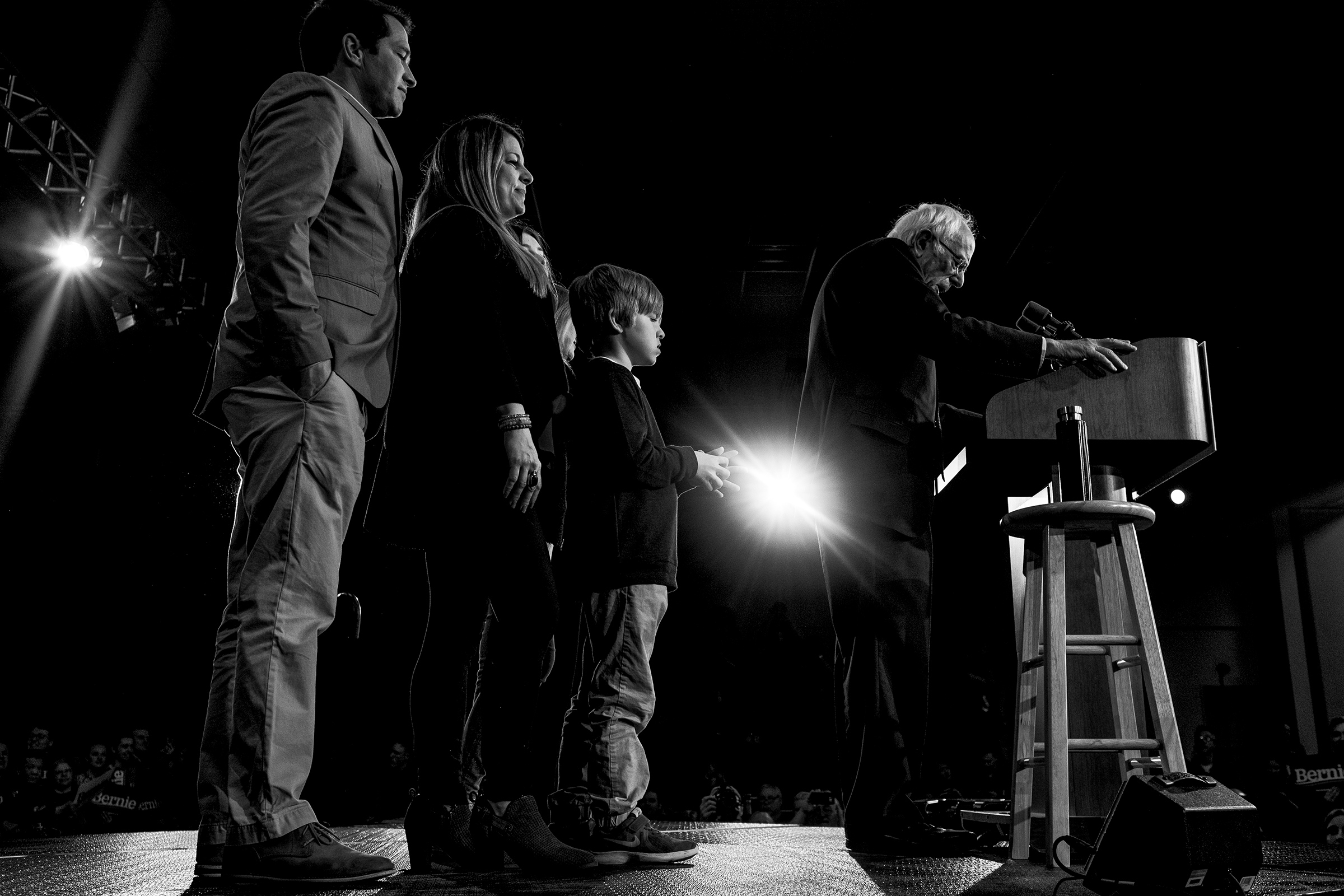 Sen. Bernie Sanders speaks during his Caucus Night Celebration on stage with his family in Des Moines, Iowa on Feb. 3, 2020.