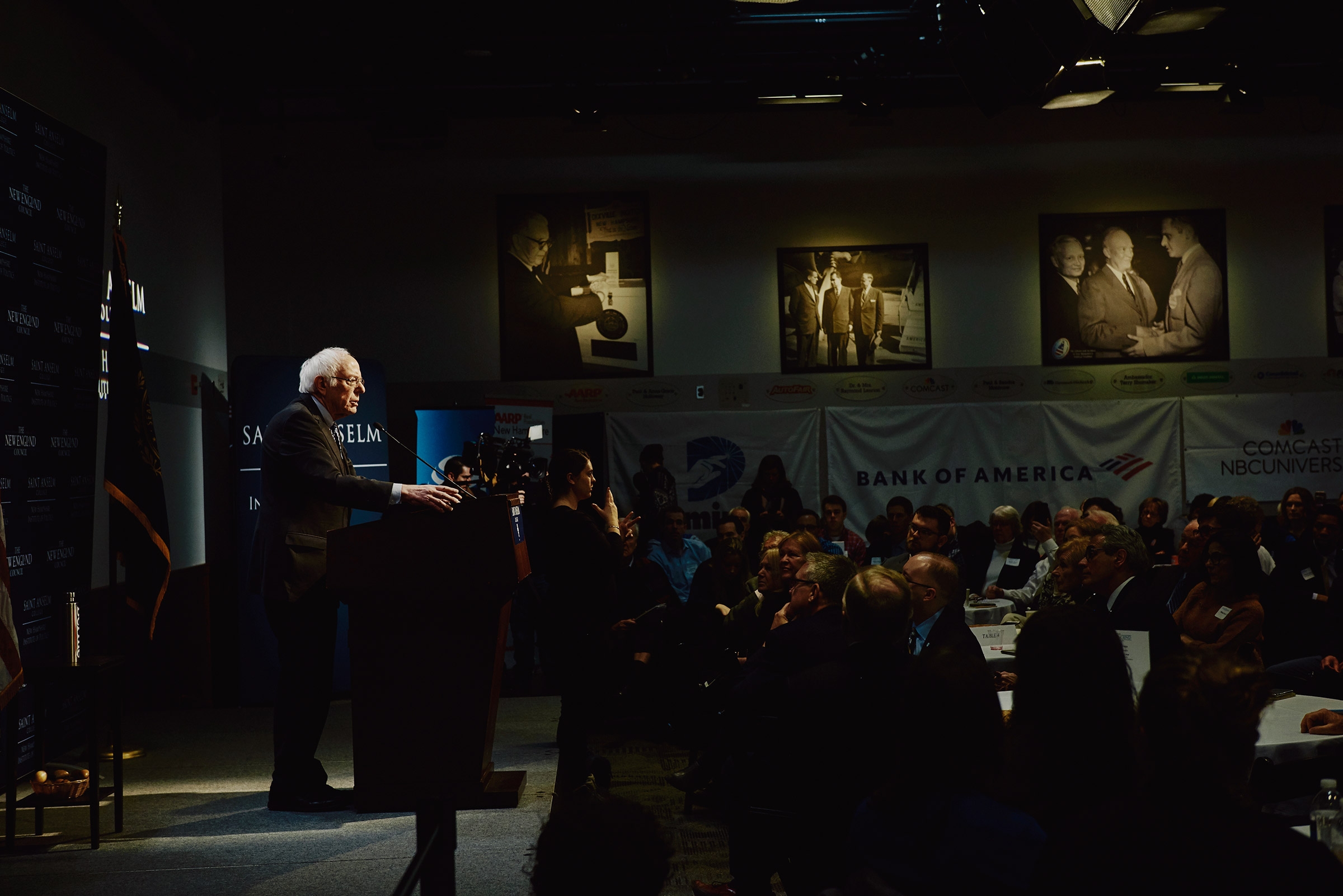 Bernie Sanders speaks at his Politics and Eggs event at The New Hampshire Institute of Politics at Saint Anselm College in Manchester, N.H. on Feb. 7, 2020.
