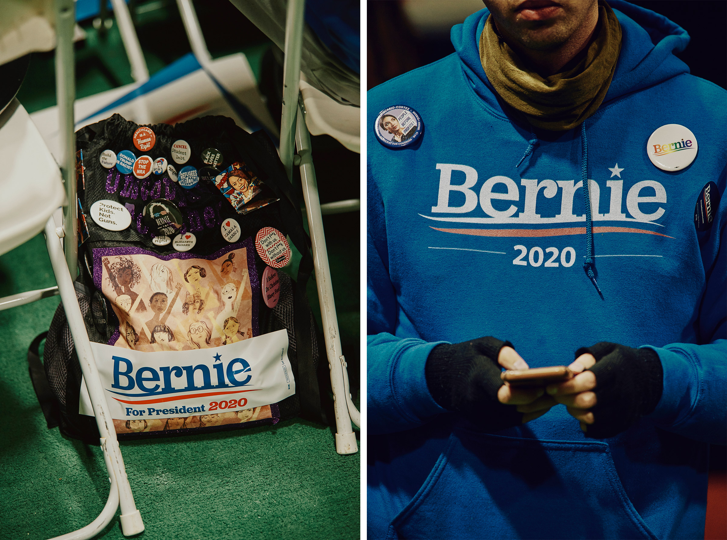 Details from the Bernie Sanders 2020 Debate Watch Party in Manchester, N.H. on Feb. 7, 2020.