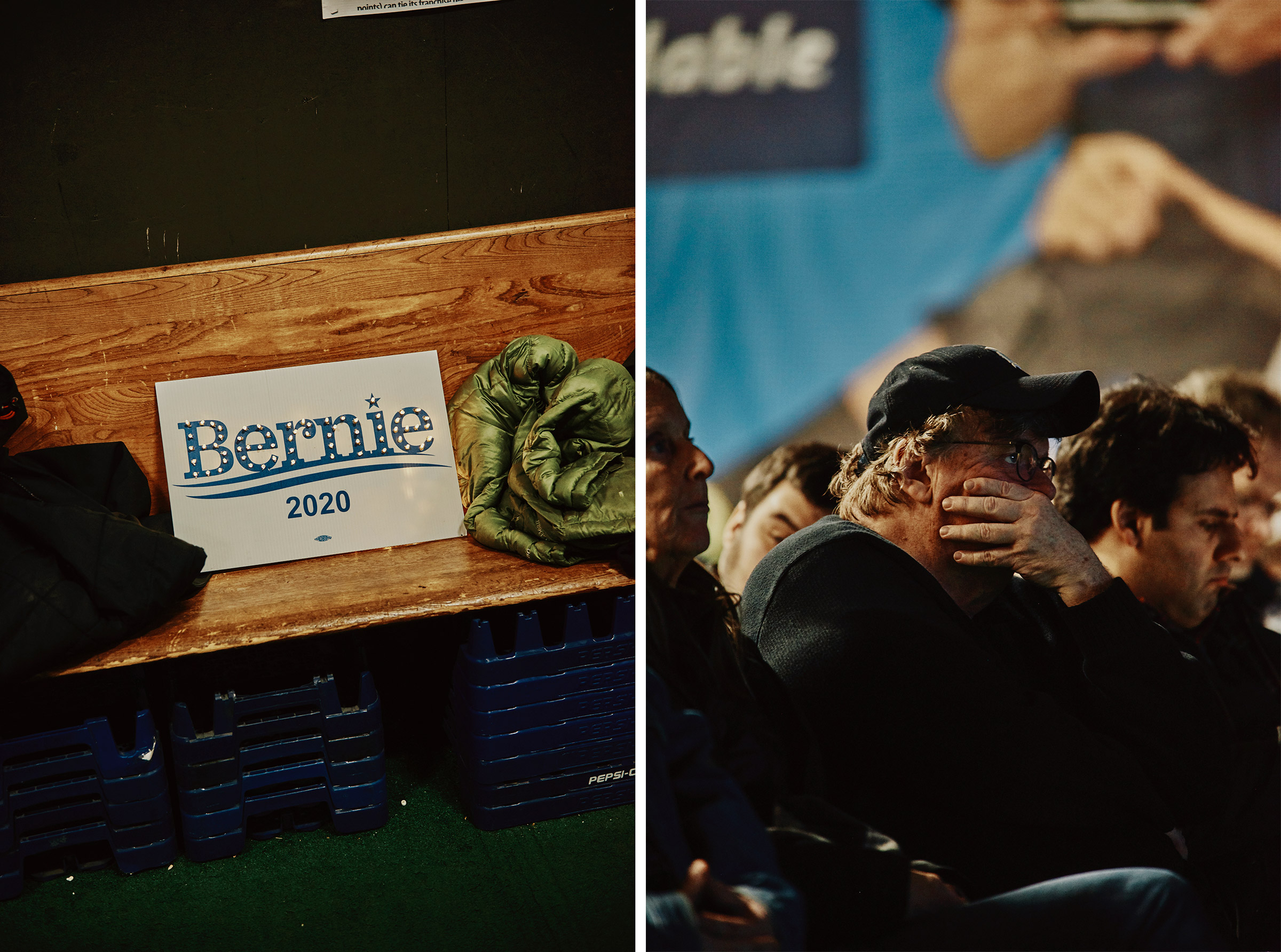 A sign at the Bernie Sanders 2020 Debate Watch Party; Michael Moore watches the debate in Manchester, N.H.