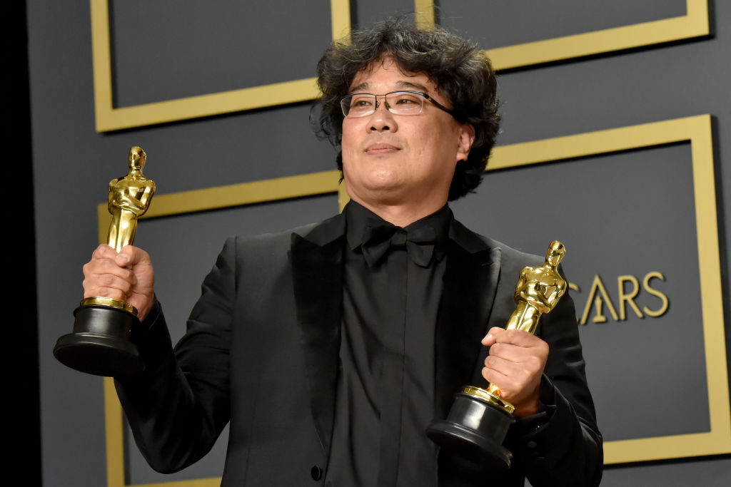 Writer-director Bong Joon-ho, winner of the Best Picture, Director, Original Screenplay, and International Feature Film awards for  Parasite,  poses in the press room during the 92nd Annual Academy Awards at Hollywood and Highland in Hollywood, Calif. on Feb. 09, 2020.