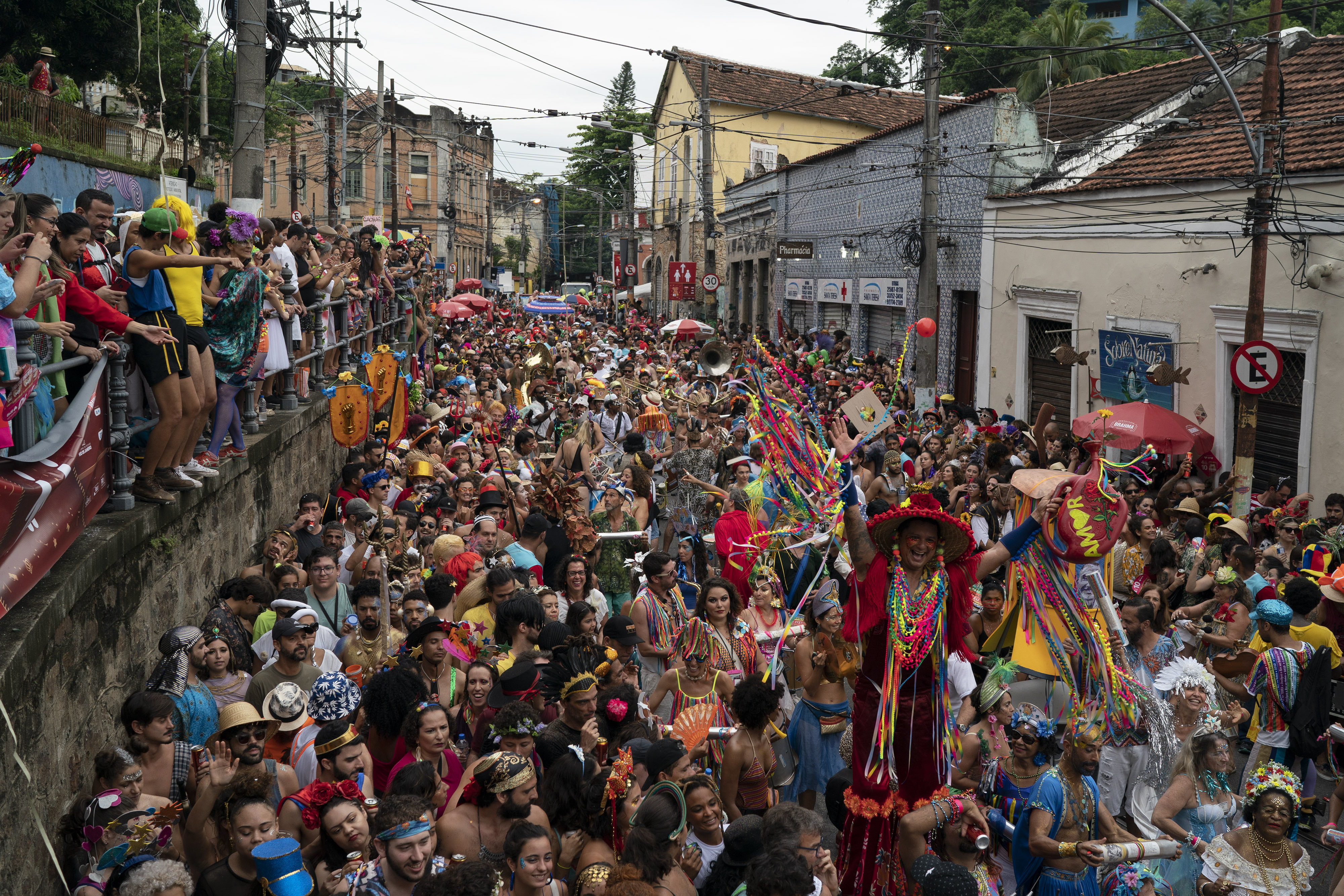 Revelers perform at the  Ceu na Terra  or Heaven on Earth street party in Rio de Janeiro, Brazil, on Feb. 22, 2020.