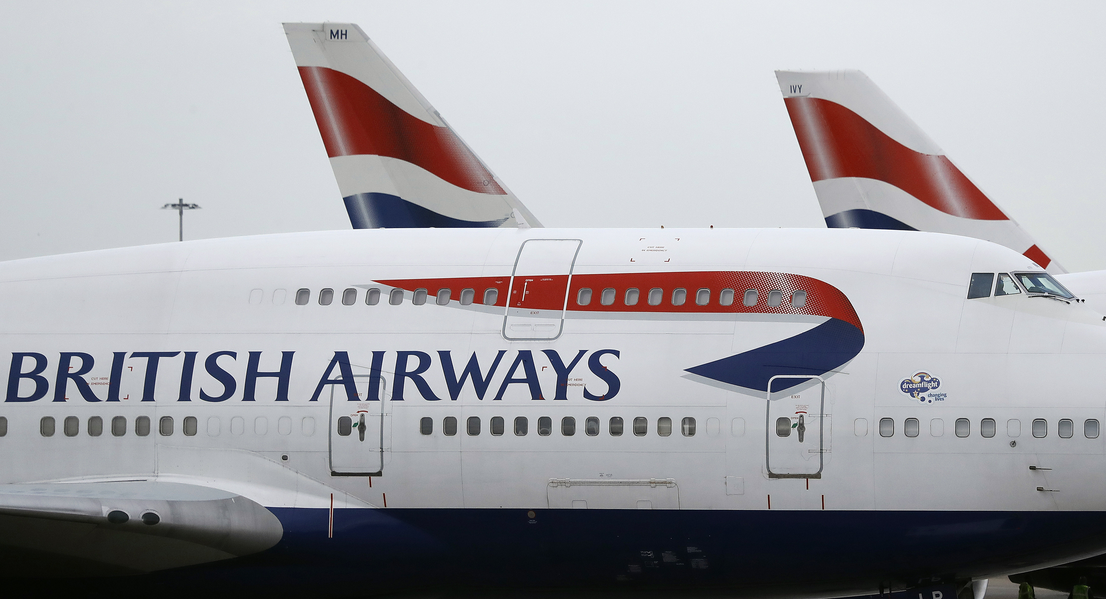 British Airways planes are parked at Heathrow Airport in London on Jan. 10, 2017.