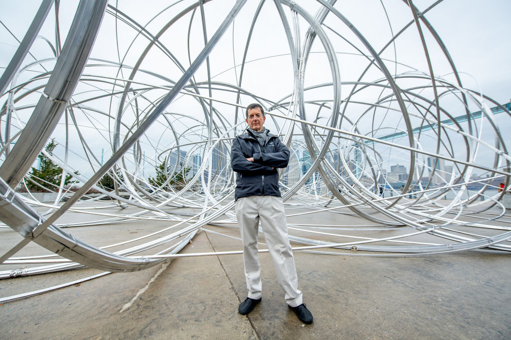 Artist Antony Gormley unveils new work as part of global art project  Connect, BTS  at Brooklyn Bridge Park on February 4, 2020 in New York City.