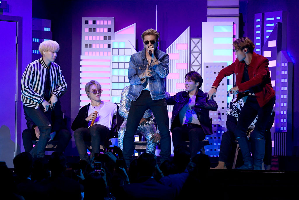 SUGA, Jimin, RM, J-Hope and Jungkook of BTS perform onstage during the 62nd Annual GRAMMY Awards at Staples Center on January 26, 2020 in Los Angeles, California.