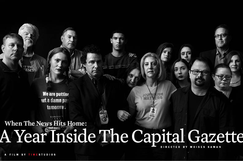 The staff of the Capital Gazette, on Dec. 9, 2018, in Washington.