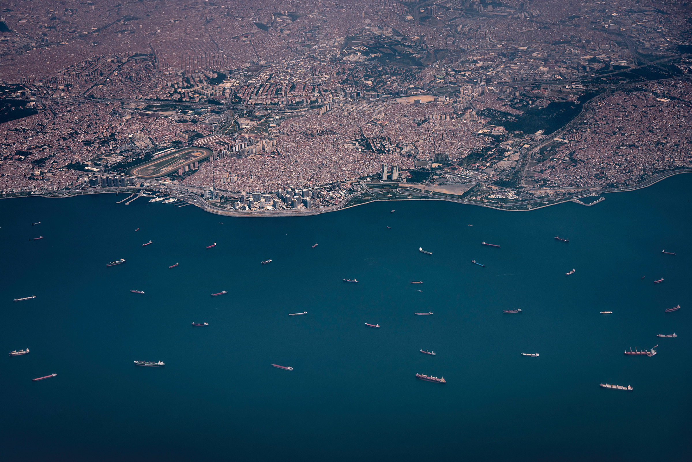 Cargo ships wait for their turn to enter the Bosporus Strait outside Istanbul in June 2018.