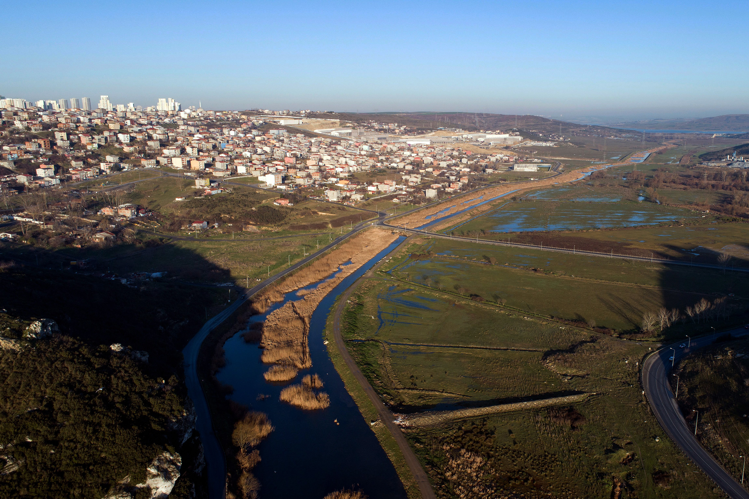 An aerial view of the Canal Istanbul project on Jan. 2, 2020.