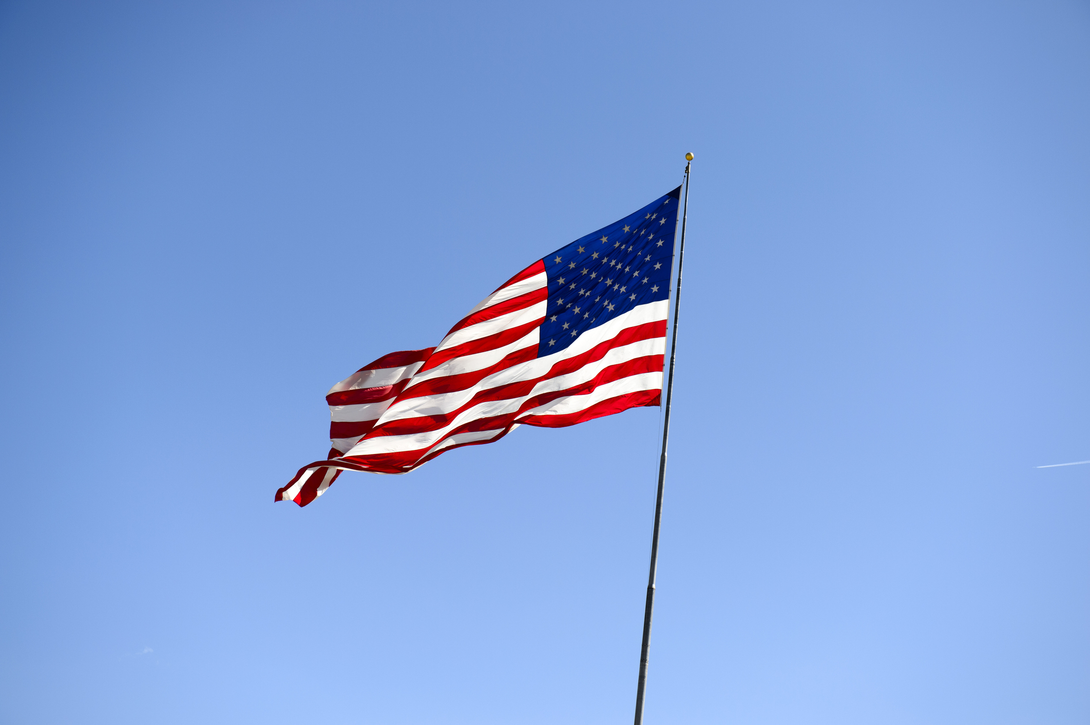 An American flag at Wells, Elko County, Nevada, USA.