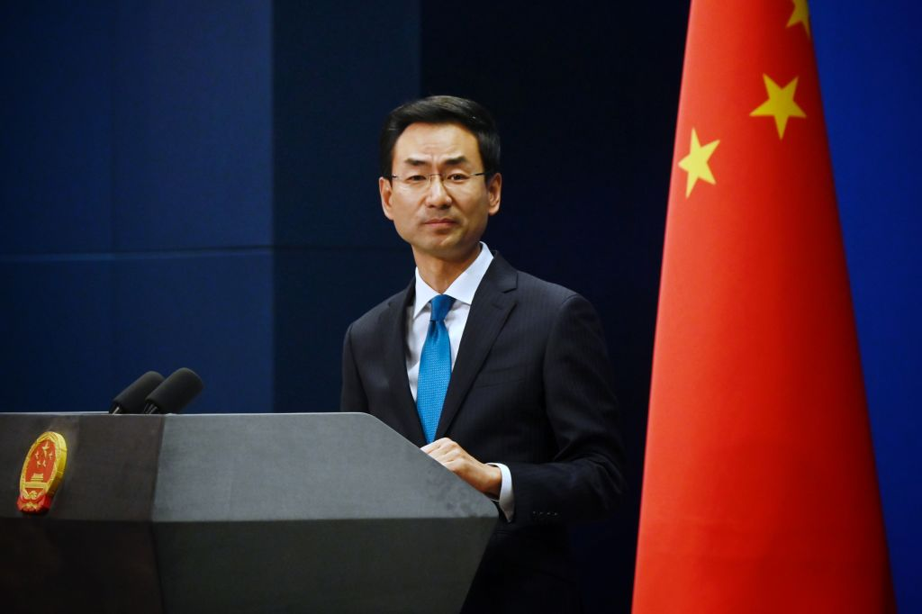 China's Ministry of Foreign Affairs spokesman Geng Shuang takes questions during a briefing in Beijing on Nov. 28, 2019.