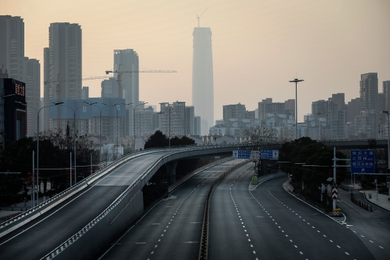 An empty highway in Wuhan, the city of 11 million where the outbreak began in a market, on Feb. 3