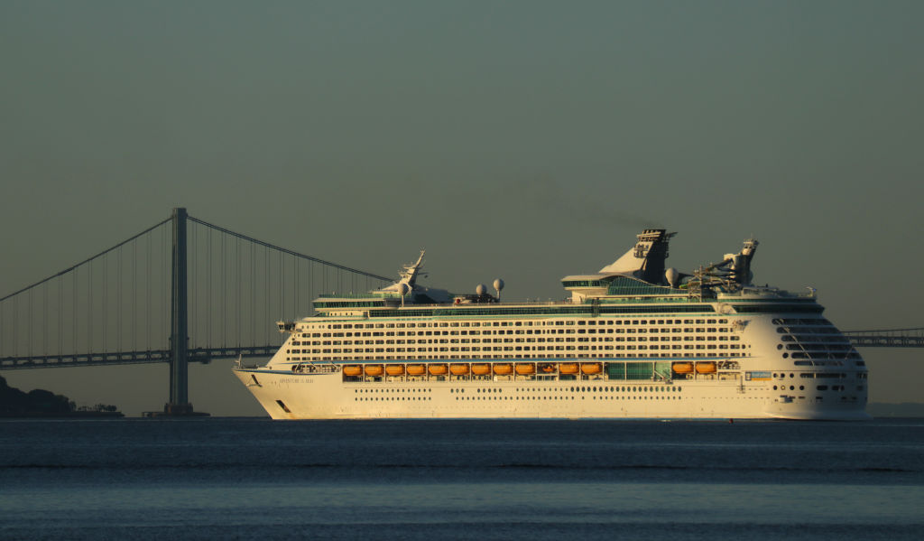 Royal Caribbean Cruise Line's Anthem of the Seas cruise ship arrives at its port in Bayonne, New Jersey at sunrise on June 22, 2019