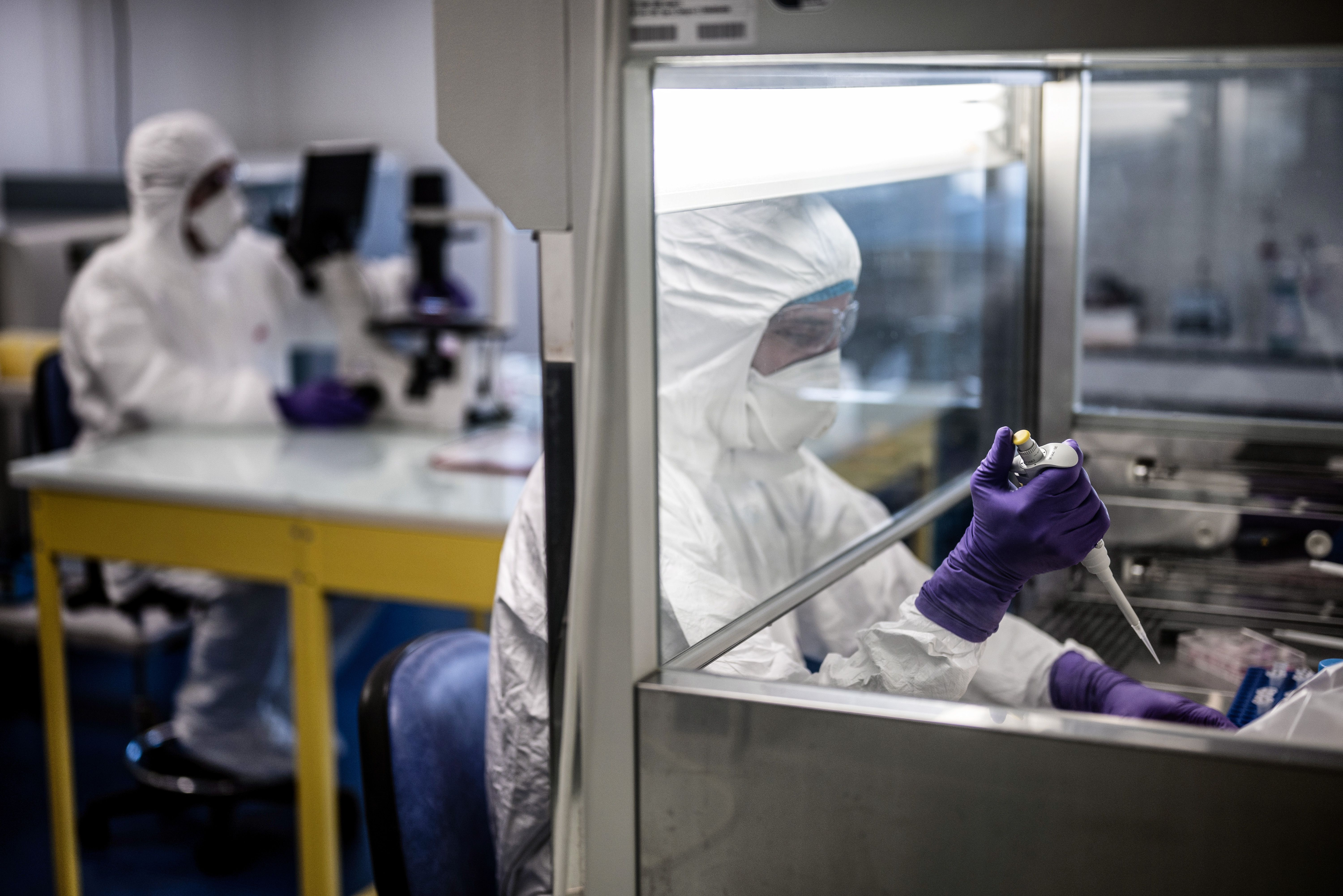 Scientists are at work in a university laboratory on Feb. 5, 2020 as they try to find an effective treatment against COVID-19, the novel coronavirus that has killed 1,100 people.