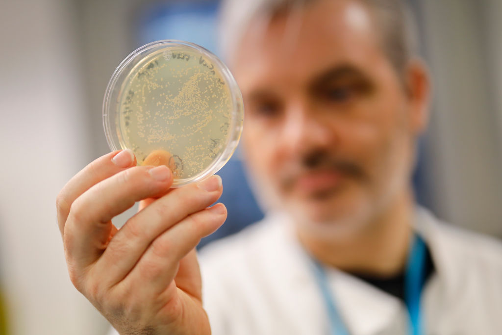 Doctor Paul McKay, who is working on an vaccine for the 2019-nCoV strain of the novel coronavirus, Covid-19,, poses for a photograph with bacteria containing the coronavirus, Covid-19, DNA, at Imperial College School of Medicine (ICSM) in London on Feb. 10, 2020.