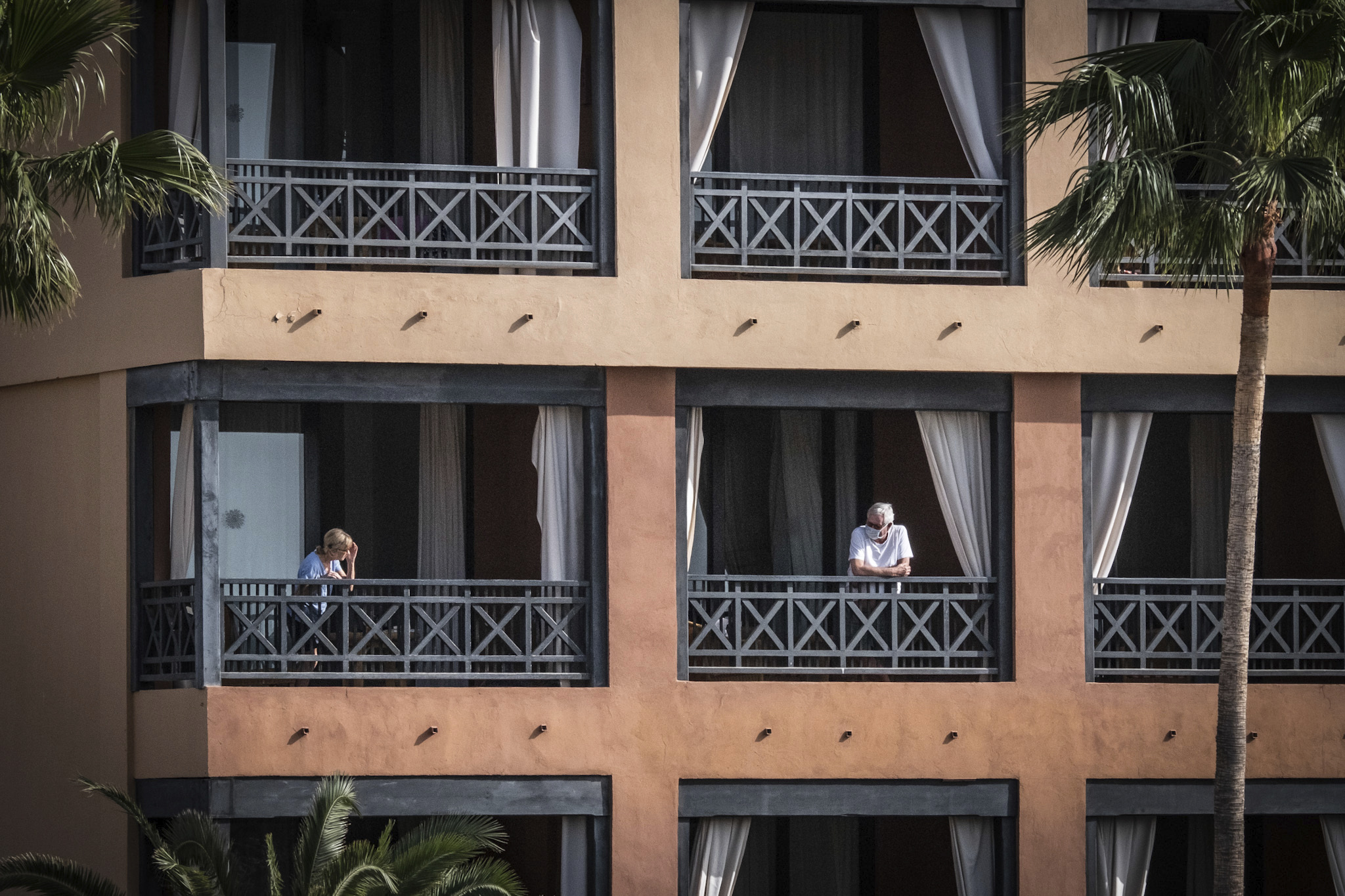 The hotel H10 Costa Adeje Palace, which has been quarantined because of coronavirus cases, continues to be cordoned off by the police on Feb. 27 in Santa Cruz de Tenerife, Spain.