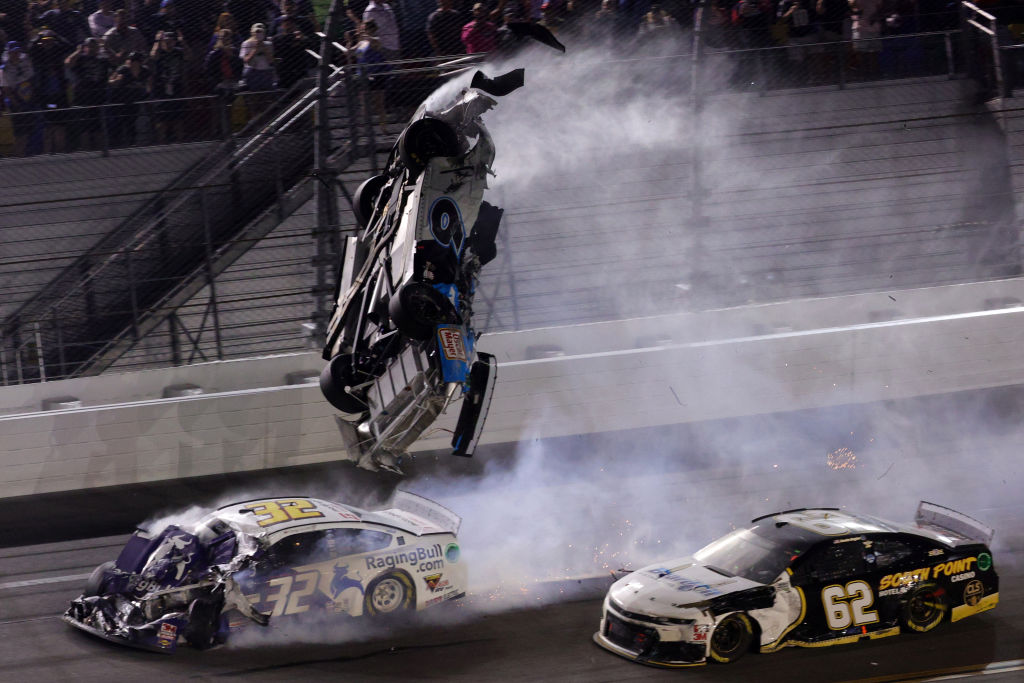 Ryan Newman, driver of the #6 Koch Industries Ford, flips over as he crashes during the NASCAR Cup Series 62nd Annual Daytona 500 at Daytona International Speedway on Feb. 17, 2020 in Daytona Beach, Fla.