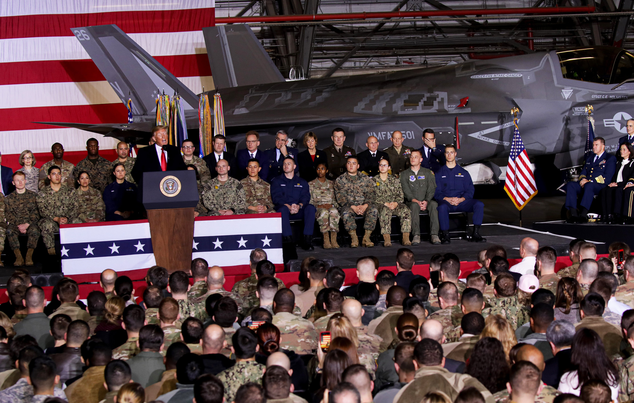 President Donald Trump makes a speech as he attends a signing ceremony at Joint Base Andrews, in Maryland, on Dec. 20, 2019. U.S.