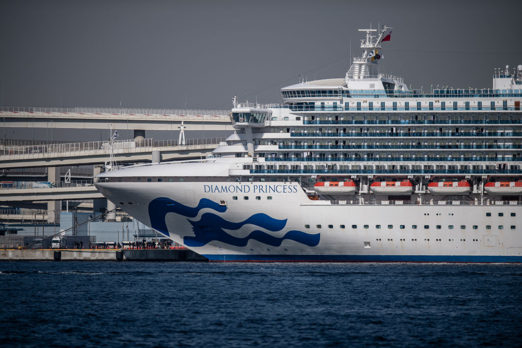 The Diamond Princess cruise ship sits docked at Daikoku Pier in Yokohama, Japan, on Feb. 10, 2020.