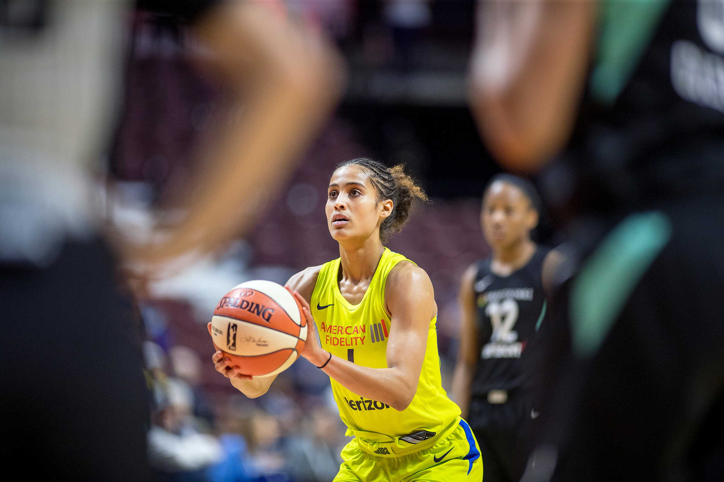 Diggins-Smith during a WNBA preseason game in 2018; she later said she played the whole season pregnant