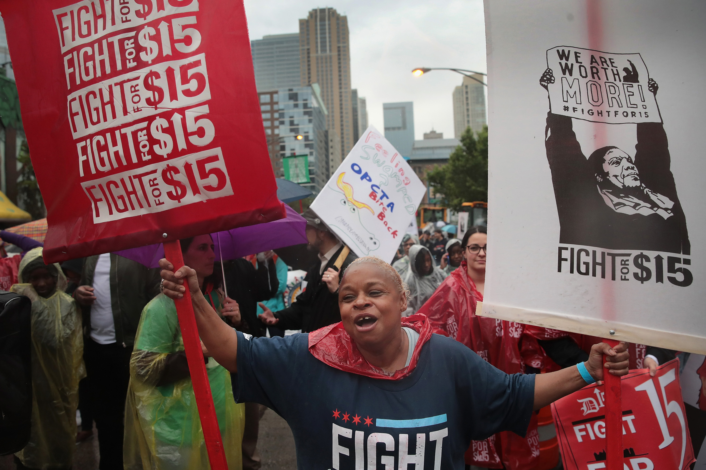 Demonstrators march in Chicago for a $15-per-hour minimum wage on May 23, 2017