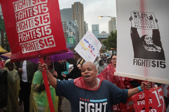 Demonstrators march in Chicago for a $15-per-hour minimum wage on May23, 2017
