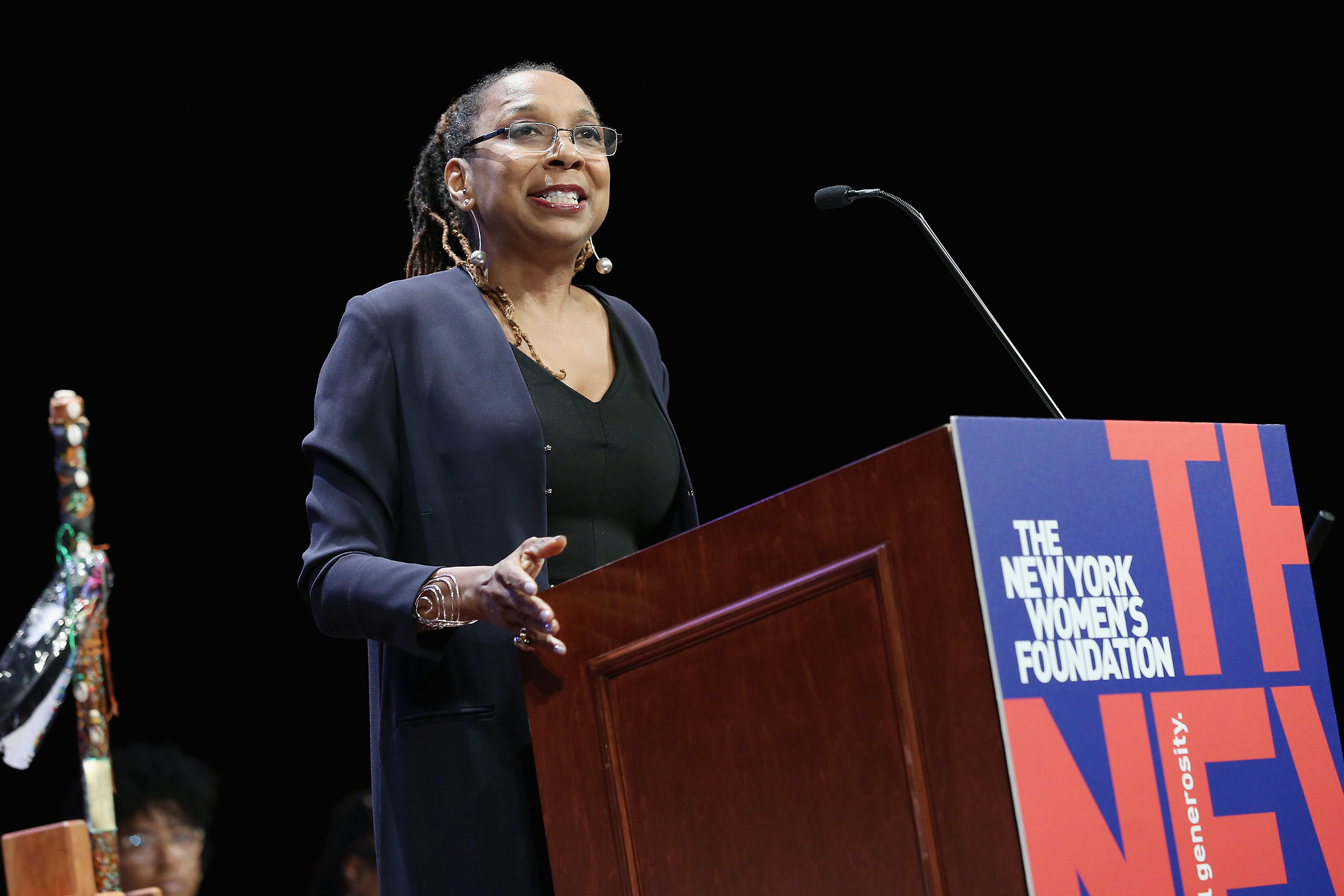 Kimberle Crenshaw speaks during the New York Women's Foundation's  Celebrating Women  breakfast in New York City, on May 10, 2018.