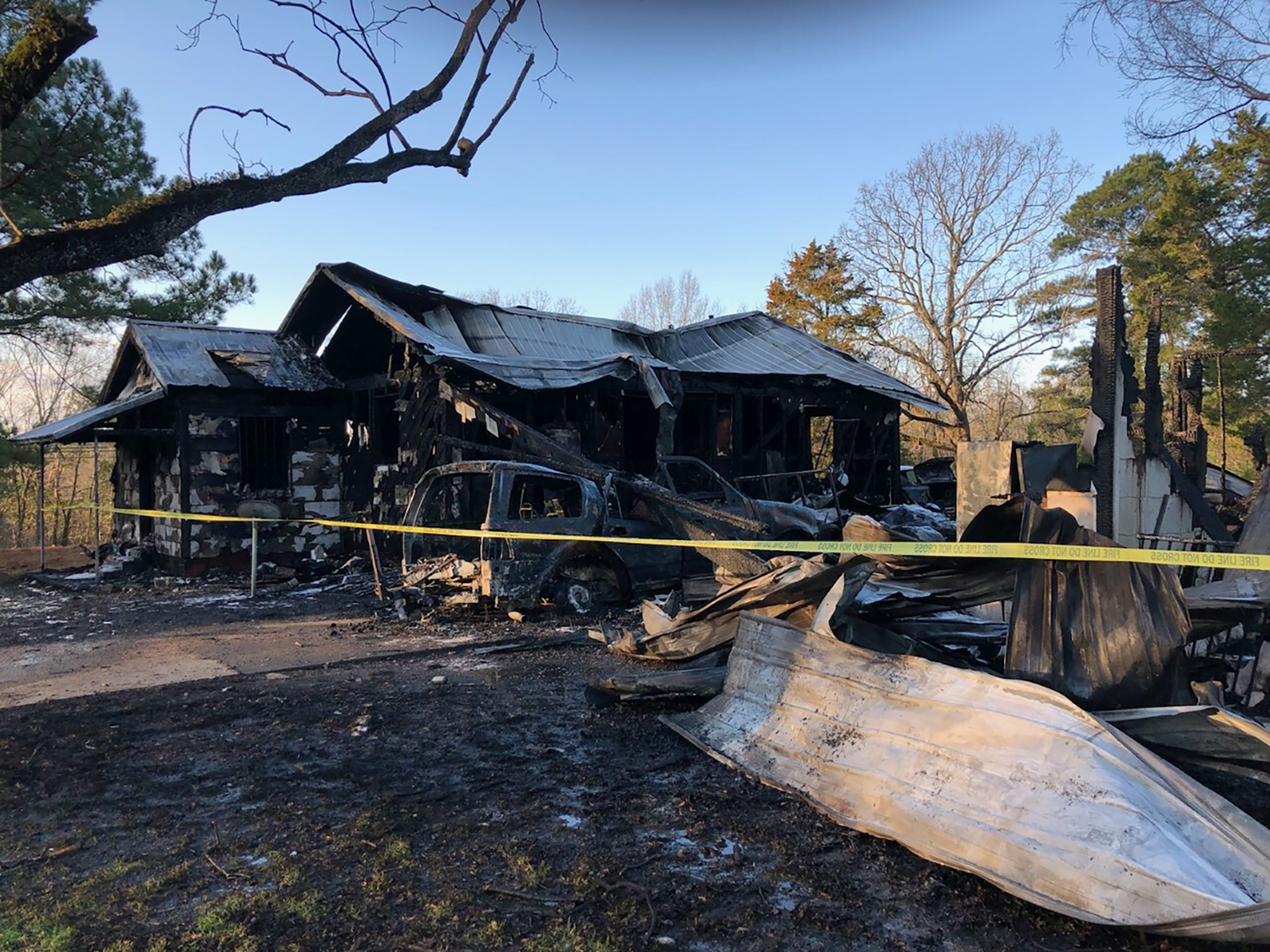 This photo provided by WLBT-TV shows damage to a house after a fatal fire in Clinton, Miss., on Feb. 8, 2020.