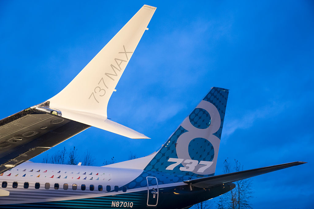 A winglet on the first Boeing 737 MAX airliner is pictured at the company's manufacturing plant, on Dec. 8, 2015, in Renton, Wash.