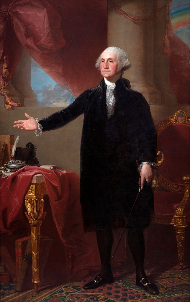 Gilbert Stuart's 1796 portrait of George Washington (also known as the Lansdowne Portrait) at the National Portrait Gallery in Washington, D.C.