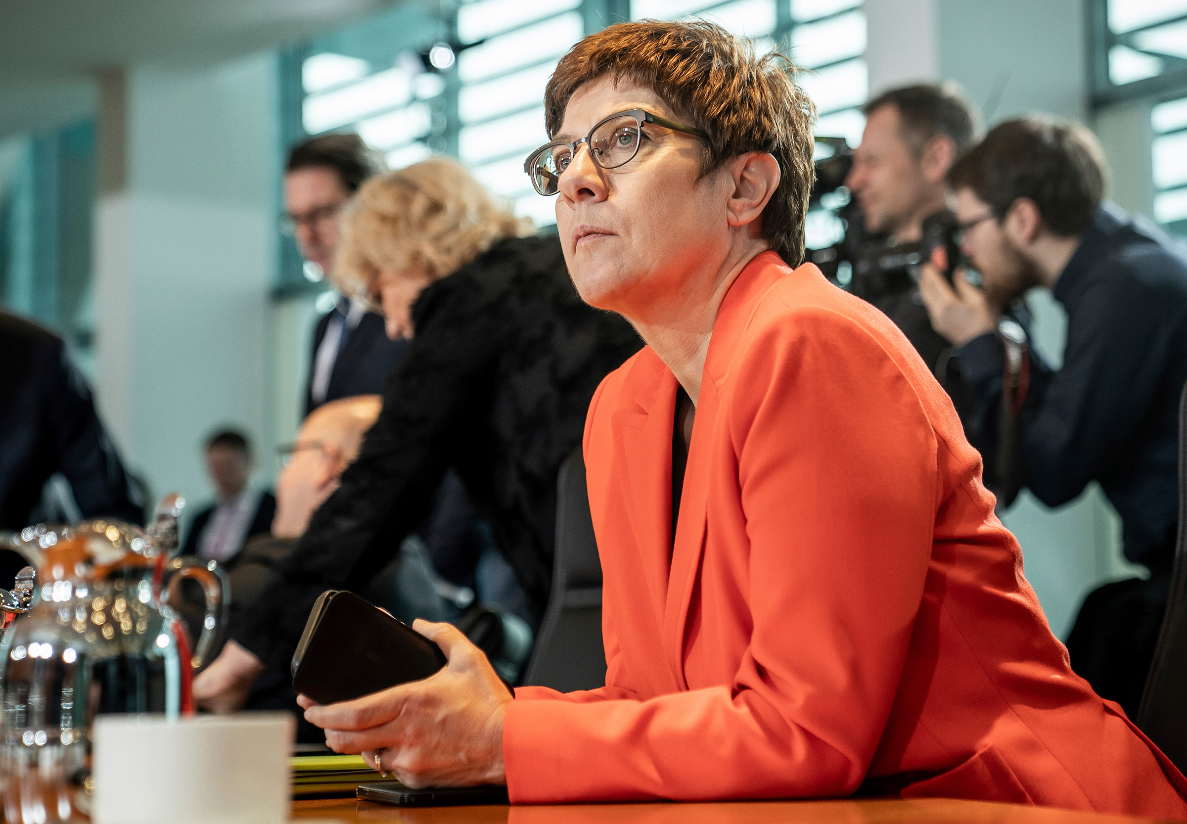 Feb. 19, Berlin: Annegret Kramp-Karrenbauer (CDU), Federal Minister of Defence, is waiting for the start of the weekly cabinet meeting in the Chancellery. Among other things, the federal government wants to pass the bill for a basic pension for low earners.
