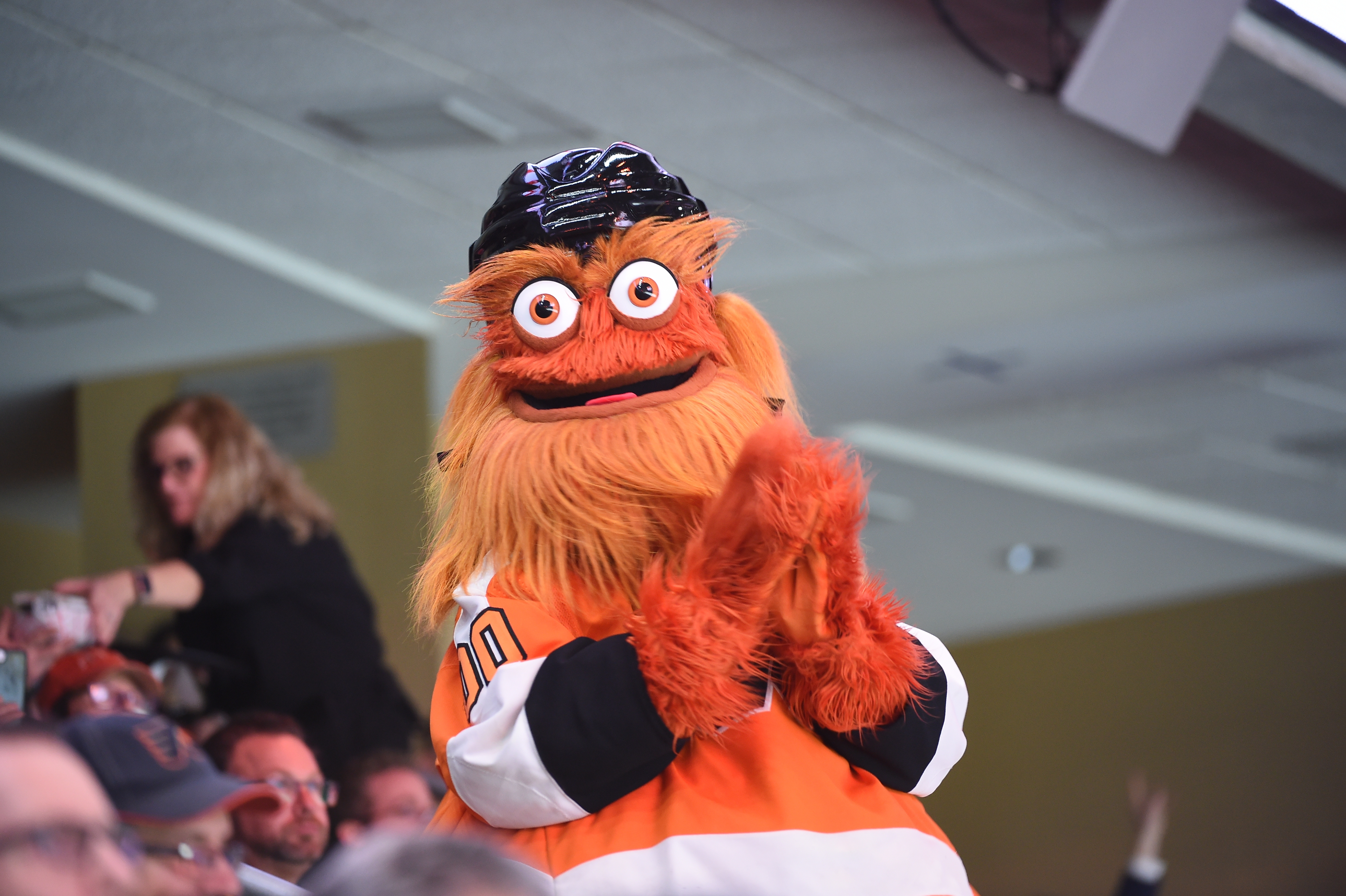 Flyers mascot Gritty looks on during the game on Jan. 13, 2020, at the Wells Fargo Center in Philadelphia, PA.