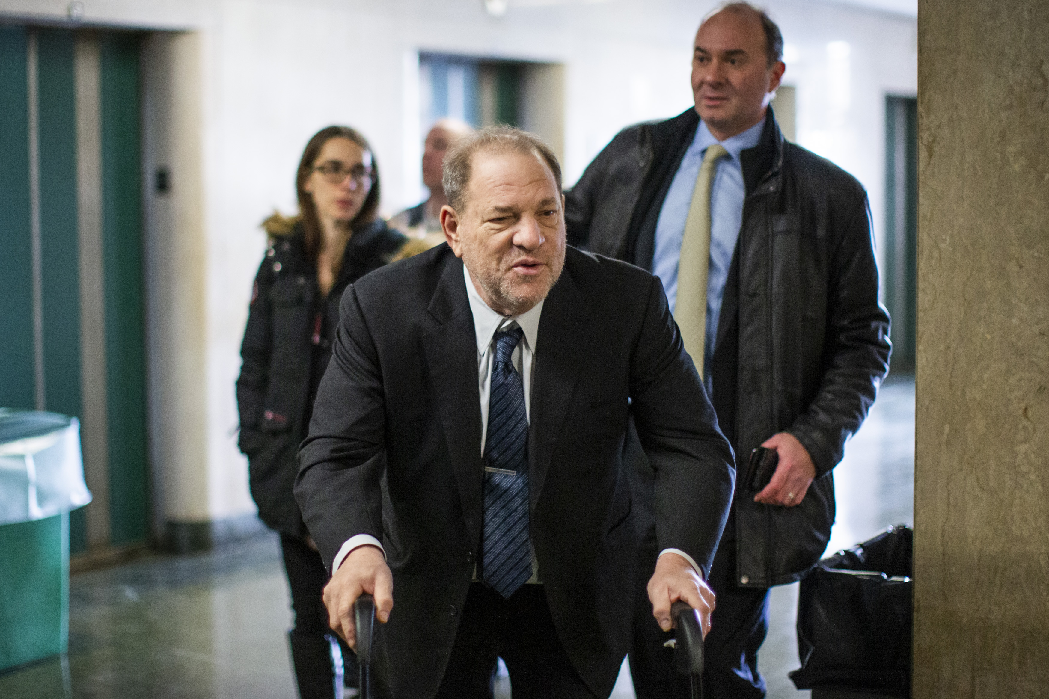 Harvey Weinstein arrives at the courtroom for his sexual assault trial at Manhattan criminal court on Feb. 3, 2020 in New York City.