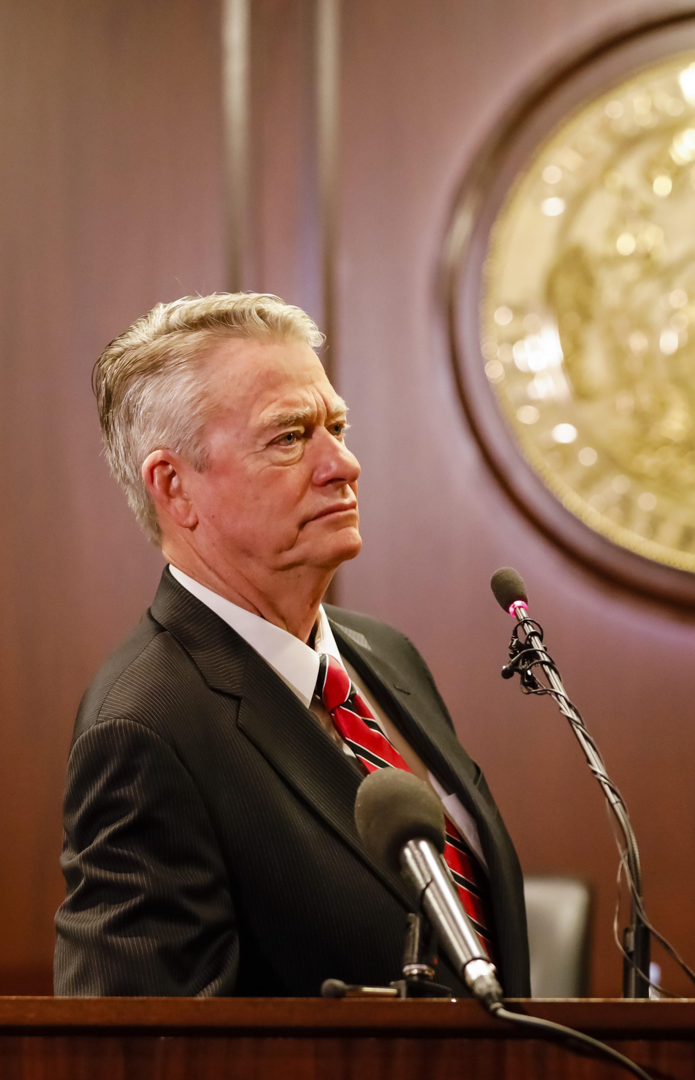 Idaho Gov. Brad Little talks to reporters on Jan. 3, 2020 in Boise, Idaho.